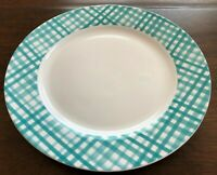 CIROA Set of 4 GINGHAM PLAID Dinner Plates PORCELAIN Teal White EASTER NWT