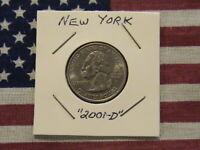2001-D New York State Quarter Dollar Cu/Ni Clad-18 years old! Nice Coin! Gem-BU!