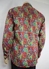 Mens Vtg 70s Style Boho Psychedelic Prince Crazy Paisley Festival Shirt L Retro