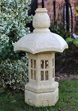 Garden Solar Ornament Buddha Chinese Pagoda, Japanese Lantern decor Ceramic