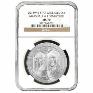 2013-W $1 Silver Five Star General Commemorative NGC MS70 Brown Label