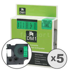 """5pk Black on Green Tape Label Compatible for DYMO 45809 D1 19mm 3/4"""""""