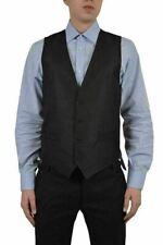 Dolce & Gabbana Men's Black Wool Silk Four Button Vest US 38 IT 48