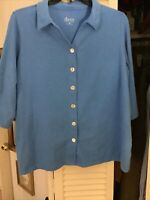 Denim & Co Women's Plus 1X Button Front Collared V-Neck Knit Top Marine Blue