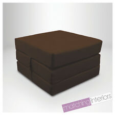 Brown 100% Cotton Fold Out Single Z Bed Cube Guest Futon Chair Bed Budget Studio
