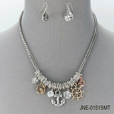Antique Silver Chain Sea Life Star Fish Turtle Pendants Necklace With Earrings