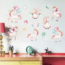 Unicorn Kids Wall Stickers Nursery Decal Art Mural Decor Balloon Star Rainbow