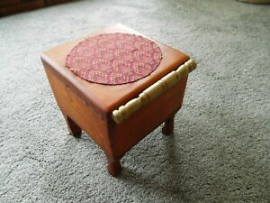 WOODEN TRINKET CABINET Fully Red Gold Cloth  Lined with Four  Curved Legs