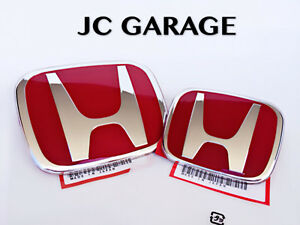 JDM RED FRONT REAR EMBLEM BADGE FOR HONDA CIVIC TYPE R EP3 FACELIFT 2004-2005