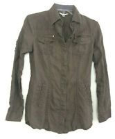 Cabi Women XS Linen Jacket #586 Olive Green Light Weight Causal Shirt CJK