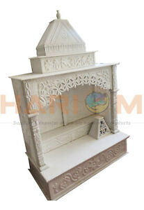 White Marble Beautiful Hand-craved Hidnu God Temple For Home With Inlay Art T004