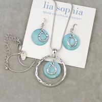 """Lia sophia jewelry """"out to sea"""" silver tone necklace drop earrings shell pendant"""