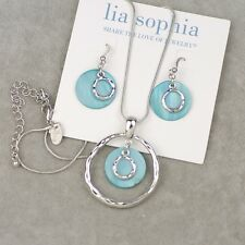"Lia sophia jewelry ""out to sea"" silver tone necklace drop earrings shell pendant"