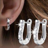Women Silver Cubic Zirconia CZ U-Shape Stud Hoop Earrings Wedding Jewellery Gift