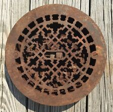 """OLD VTG ANTIQUE CAST IRON SMALL 8"""" ROUND FLOOR GRATE HEATING VENT METAL REGISTER"""