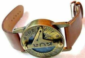 Nautical Brass Hand Watch Sundial And Compass Vintage Marine Brass Antique