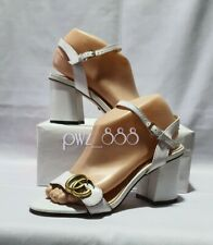 GUCCI Marmont White Sandals Shoes Size 37