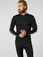 Helly Hansen Lifa Dry Stripe Crew Thermal Long Sleeved Top 48800/998 Black NEW