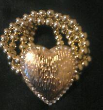 Fashion Stretch gold multi strand heart design bracelet with Crystal Detail