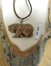 Laccio + Ciondolo in OSSO inciso a mano ORSO GRIZZLY bear Canada Natura America
