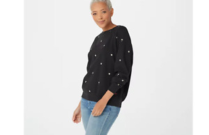 Peace Love World Embroidered French Terry Sweatshirt Black Large A375420