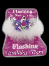 Flashing 21st Birthday Tiara Crown Women's Girls with Feathers and Marabou Trim