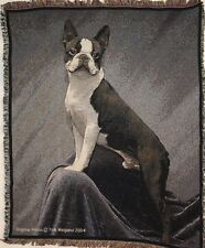 Brand New `BOSTON TERRIER-Tom Weigand` DOG WOVEN Tapestry Throw Blanket