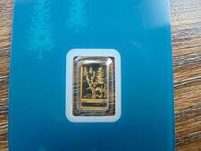 1 Gramm Goldbarren mit Motiv Rentier aus der Schweiz - 1g im Blister - PAMP