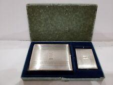 Vintage ELGIN / EAM Silver Plated Cigarette Case / Card Holder & MATCH  CASE SET