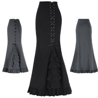 Victorian Gothic Mermaid Dress Skirt Vintage Steampunk Retro Fishtail Long Skirt