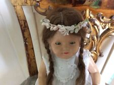 Antique Doll or Statue Head Piece, Tiara Fabric and Wax flowers, leaves and buds