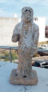 """Antique Jain Saint Priest Stone Statue Woman Sand Stone Figure Sculpture 15 """""""