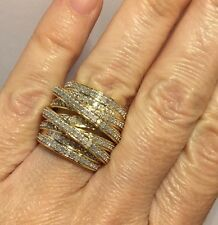 Large 14k Yellow Gold Sterling Silver 1Ct Diamond Criss Cross 925 Wedding Ring 8