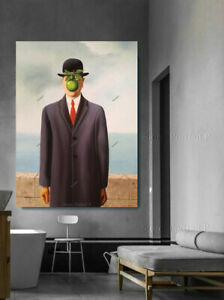 The Son of Man Oil Painting Rene Magritte Hand-painted Art Canvas X-Large 36x48