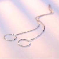 Ohrringe Durchzieher Kreis Echt Sterling Silber 925 Weißgold Rosegold