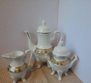 Italian Design Gold and Silver Tea Pot, Sugar and Creamer