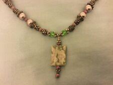 "19"" Lavender & Silver Color Costume Necklace w/ Rectangular Stone Agate Pendant"