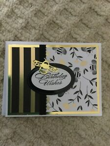 Stampin Up Handmade Greeting Birthday Card Black And Gold Bee