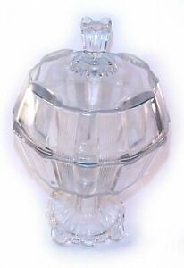 antique Glass Pedestal Compote wonderfully old with lid