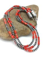 Native American 3 St Red Coral Sterling Silver Necklace 2585
