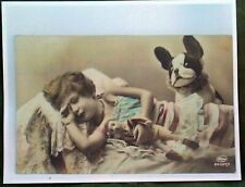 Steiff Bully Dog & Doll Enlarged Reprint From Early Post Card Heavy Glossy Paper