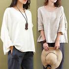 mujer algodón & Blusa De Lino Suéter Manga Larga Holgado extragrande Camisa top