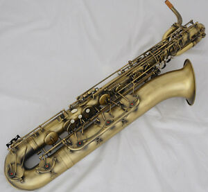 Professional Antique Baritone Saxophone Eb Bari sax Low A 2 Necks With Case