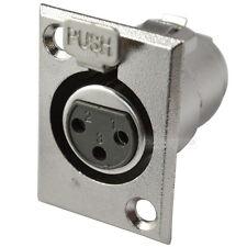 XLR Female Jack Panel Mount Connector 3 Pin Nickel Audio Adapter Converter