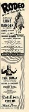 1951 Lone Ranger Print Ad at Madison Square Garden & Yma Sumac Hotel Pierre