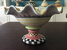 Mackenzie Childs~ODD FELLOWS~ fluted compote, footed bowl, ceramic