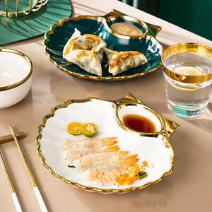 """Gold Conch"" Vintage Luxury Dishes Dinner Plates Home Restaurant Dinnerware Gift"