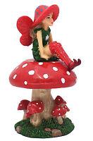 Fairy Garden Miniaturee Fairy LULU the Red Fairy with a Detachable Mushroom