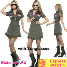 Ladies Top Gun 80s Womens Military Costume 1980s Aviator Pilot Fancy Dress 80's