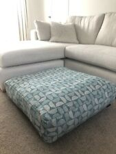 Floor Pouffe Cushion Cover large green geometric chenille